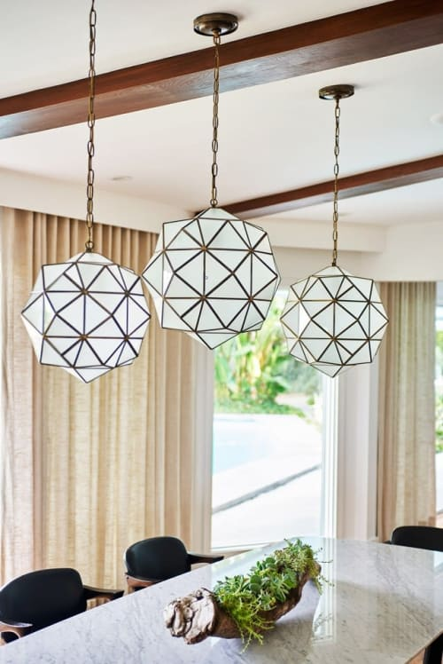 Pendants by l'aviva home seen at Private Residence, Los Angeles - Rombus Lantern -- Milk Glass