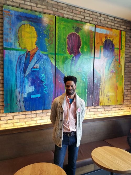 Paintings by David Anthony Art seen at Starbucks, Chicago - Starbucks Installation