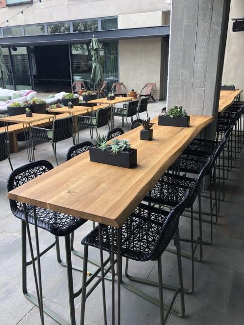 Tables by Modern Wood Style seen at Menlo Park, Menlo Park - Live Edge Reclaimed Oak/Bar Tables