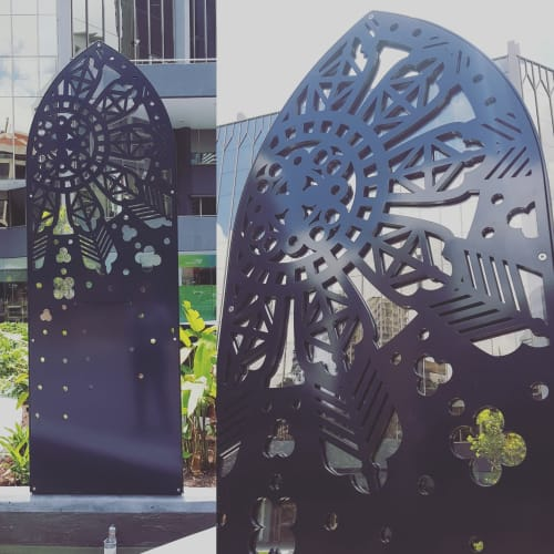 Public Sculptures by Elysha Rei seen at Ann Street, Fortitude Valley - Cathedral Square Water Feature