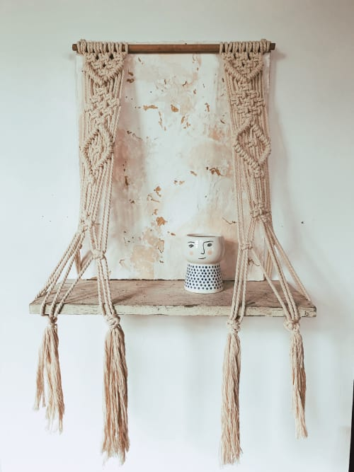 Macrame Wall Hanging by Ava Shields Art seen at Private Residence, Atlanta - In the Raw Macramé Wall Shelf