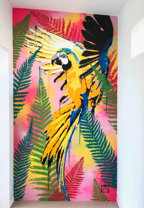 Murals by Ben Allen Studio seen at Private Residence, Mawgan Porth - Macaw Graffiti
