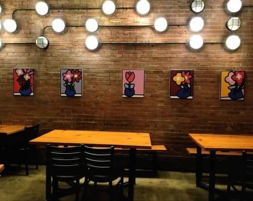 Paintings by Albert Gonzales seen at Rosella Coffee Company, San Antonio - Wabi Sabi series
