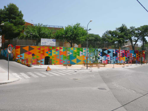Murals by CactuSoup seen at Lleida, Lleida - Triangles