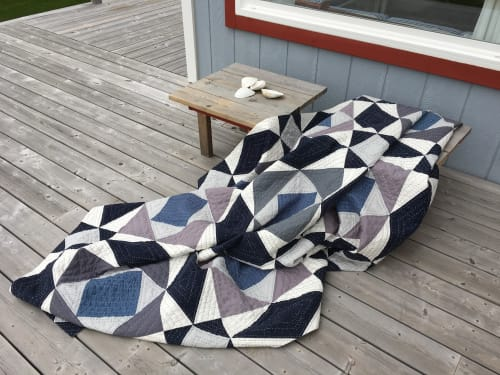 Linens & Bedding by Julea Boswell Art Studio seen at Private Residence, Montreal - Storm at Sea Modern Quilt
