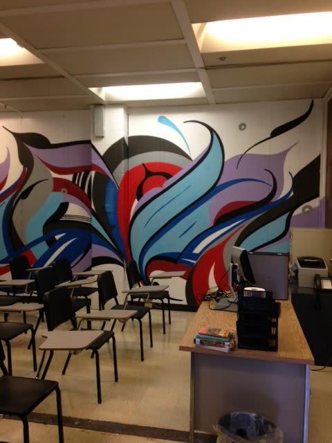 Murals by Miguel A. Del Real seen at Sklodowska Curie Metropolitan High School, Chicago - Restorative Justice Murals