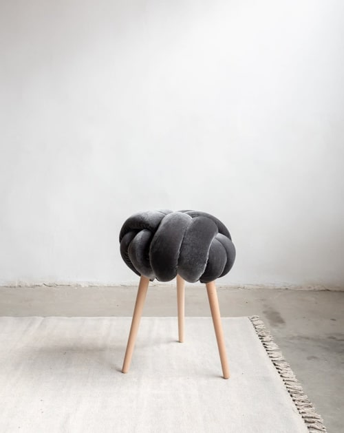 Grey Velvet Knot Stool   Chairs by Knots Studio