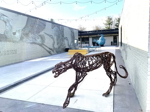 Public Sculptures by Wendy Klemperer Art Inc seen at The Market at Pound Ridge Square, Pound Ridge - Stalking Cheetah
