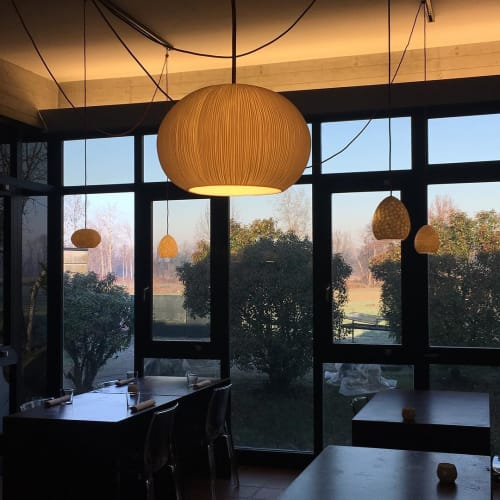 Pendants by Vezzini & Chen seen at La Pedrera Restaurant, Soncino - Glass and Ceramic Lighting