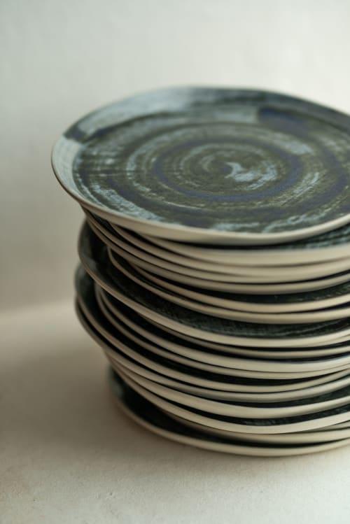 Tableware by Charlotte Ceramics at Private Residence, Ibiza - Range of ceramics in Ultra marine Blue Indigo. Plates, bowls, presentation dish.