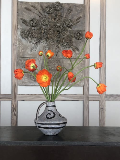 Floral Arrangements by Serracinna seen at Austin Proper Hotel, Austin - Orange poppies in vintage vase