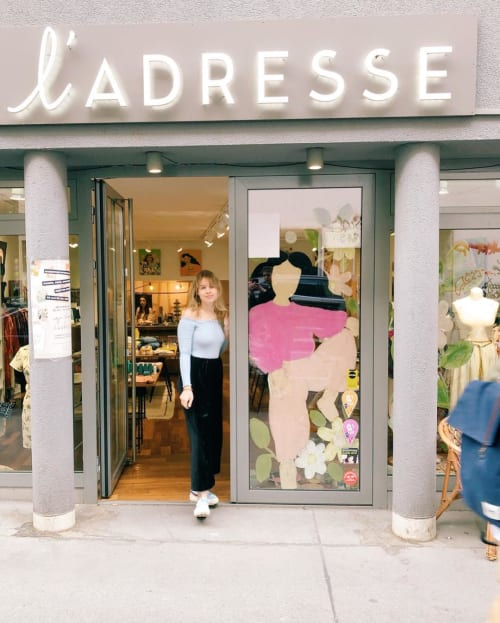 Murals by Alja Horvat seen at L'Adresse Concept Store, Wien - L'Adresse Window Painting