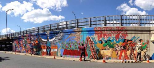 Street Murals by Alaa Awad seen at Center Street, North Adams - Justice