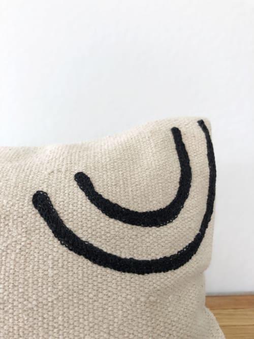 Pillows by Coastal Boho Studio seen at Creator's Studio, Frisco - Navarre Handwoven Lumbar Pillow Cover - Black