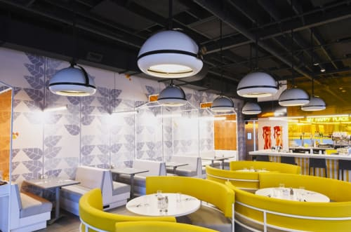 Pendants by ILEX Architectural Lighting seen at Hatch, Huntington - Chroma Tilt Pendants