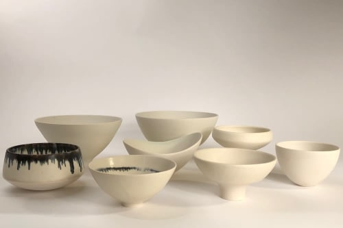 Art & Wall Decor by Lisa Fleming Ceramics seen at Bay Area Made x Wescover 2019 Design Showcase, Alameda - Black and White Bowl set for Bay Area Made showcase