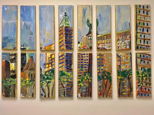 Paintings by Caroline Karp Artist seen at Dentons, New York - NYC Skyline Painting