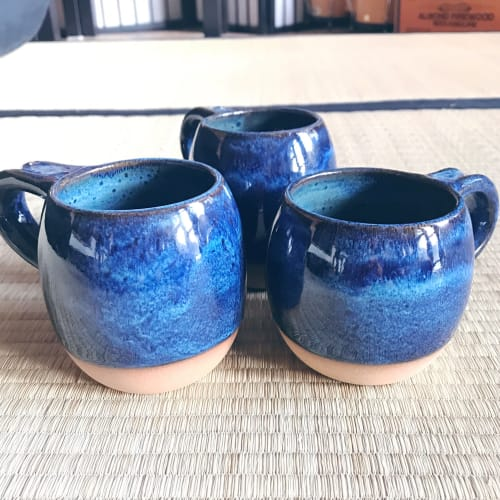 Cups by Tina Fossella Pottery seen at Private Residence, Mill Valley - Stoneware Mugs