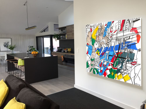 Paintings by Holly Schroder seen at Private Residence, Auckland - Twisting III