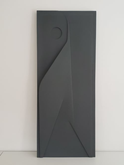"""Art & Wall Decor by Patrick Bonneau seen at Private Residence, Los Angeles - Plaster relief """"Deco"""" dark gray limited edition of 20"""