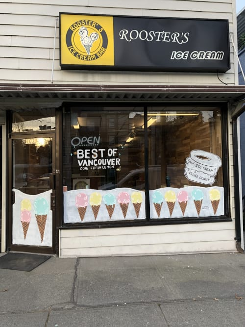 Public Art by Kimberly Swain Visual Artist seen at 1039 E Broadway, Vancouver - Ice Cream! Window Mural