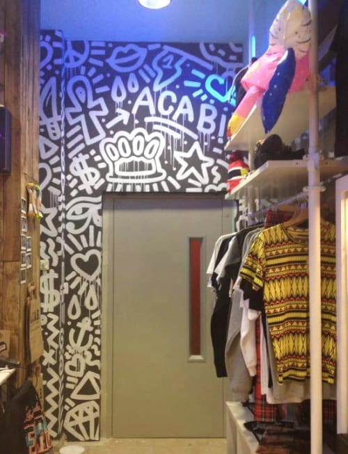 Murals by Laia1 seen at Carrer dels Tallers, Barcelona - Acab Store decoration 2015