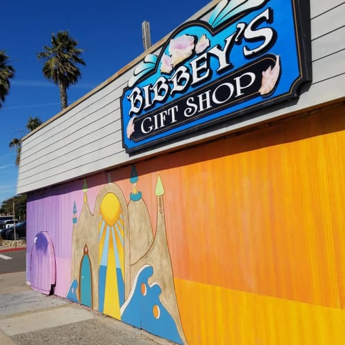Murals by Little Ant Art seen at Bibbeys Shell Shop, Imperial Beach - Bibbey's Shell Shop mural