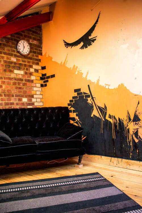 Murals by Oscar Lett seen at 17 Overbury Rd, London - Life skyline