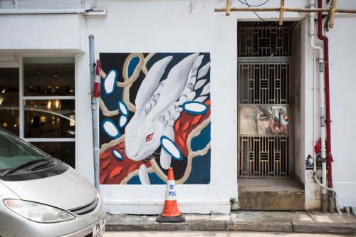 Street Murals by Shann Larsson seen at Morrison Hill Road - HKWalls 2019: Moon Rabbit
