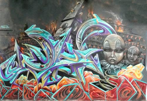 Street Murals by Waf.Alosta seen at Haight Street, San Francisco - Burning City