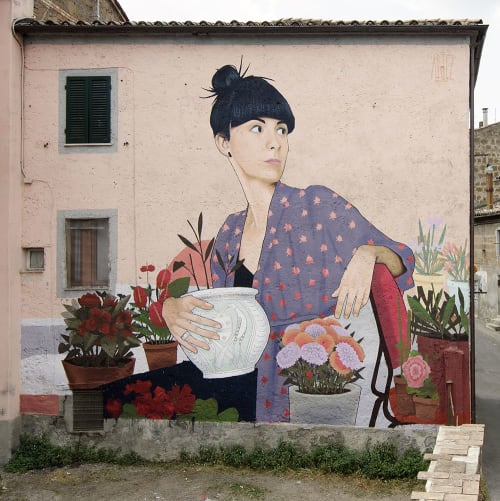 """Street Murals by Artez seen at Private Residence, Acquapendente - """"Preparing for Pugnaloni"""""""