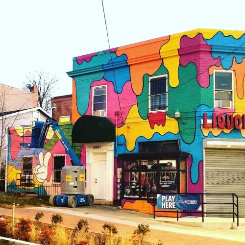 Street Murals by Jon Leonardo seen at Kennedy Street Northwest, Washington - Peace, Love and Color