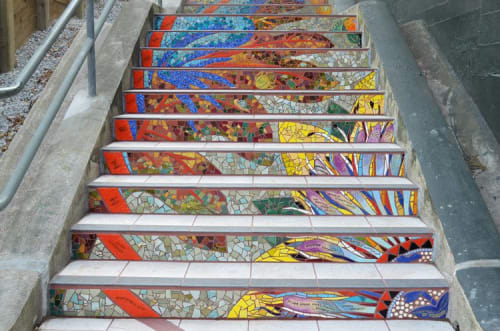 Tiles by Aileen Barr seen at Golden Gate Heights, San Francisco - Hidden Garden Steps