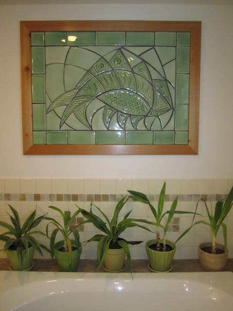 Tiles by Lynne Meade Porcelain seen at Private Residence, Lancaster - Abstracted Fish Mural