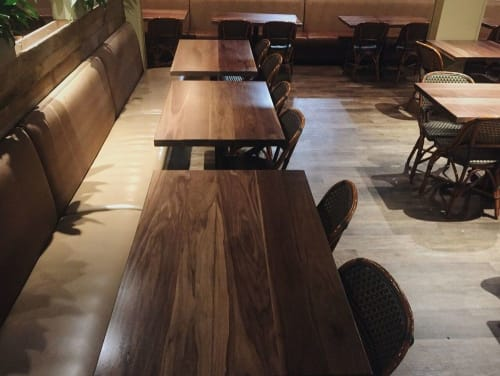 Tables by Philip Goold seen at Baker's Crust Artisan Kitchen @ Carytown, Richmond - Walnut Six, Four & Two Tops