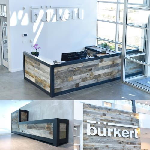Furniture by Wood Tender seen at Burkert Fluid Control Systems, Huntersville - Reception Desk