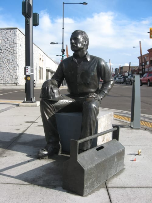 Public Sculptures by Denis Kleine seen at Kelowna, Kelowna - The Working Man