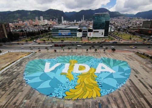 Street Murals by +Boa Mistura seen at Bogota, Bogotá - Vida in venida Carrera 30 with la Calle 22