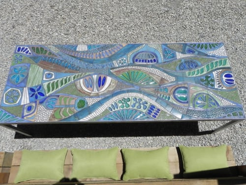Tables by Brent J Bennett seen at Private Residence, Carmel-by-the-Sea - Custom stoneware ceramic tile table for outdoor use
