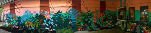 "Murals by Sally Podmore seen at Cumberland Community School, Cumberland - ""Forest"" Mural"