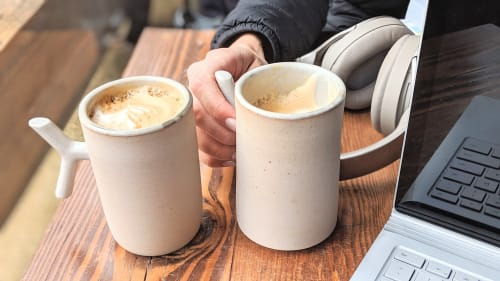 Ceramic Plates by Stone + Sparrow seen at Cafe Dio, Los Gatos - k-grip mugs