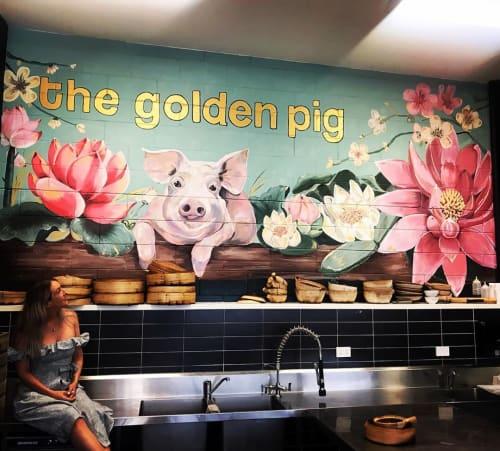 Murals by Emma-Alyce Art Australia seen at The Golden Pig Restaurant & Cooking School, Newstead - mural (the golden pig)