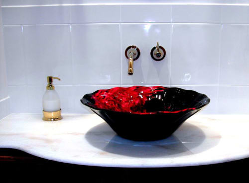 "Water Fixtures by White Elk's Visions in Glass - Marty White Elk Holmes seen at Private Residence, New York - ""Eagle Nebula"" ~ Hand Blown Glass Vessel Sink"