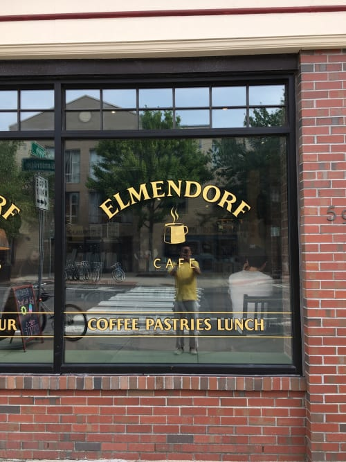 Signage by Need Signs Will Paint seen at Elmendorf Baking Supplies & Cafe, Cambridge - 23Kt gold leaf signs