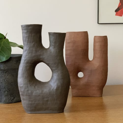 Vases & Vessels by Sunday Studio seen at Creator's Studio, Brooklyn - Asymmetrical Double Neck Ceramic Vase
