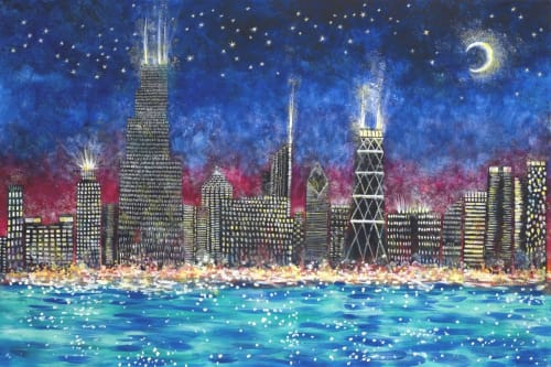 Paintings by Judith Joseph seen at Private Residence, Chicago - Chicago Skyline