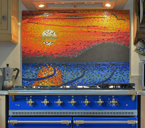 Murals by Kate Rattray Mosaic Artist seen at Private Residence, Wells - Sunset Over the Solway