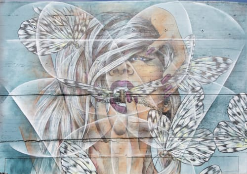 Street Murals by Amandalynn seen at 69 Duboce Avenue, SF, San Francisco - Breathe
