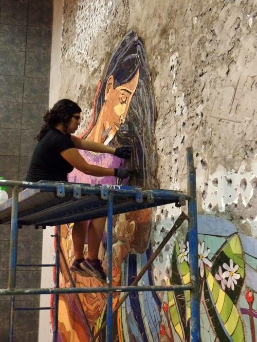 Murals by ShetuKiltra seen at Metro Bellas Artes - Barrio Lastarria, Santiago - La infancia que debe ser