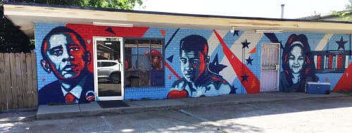 Murals by Rahmaan Statik Barnes seen at O'Neil's Barber & Beauty Salon, Baton Rouge - Building readers mural project Wall 3